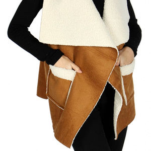 Contemporary sherpa vest with pocket